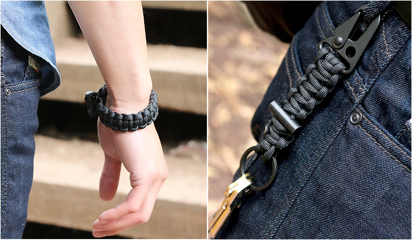 FIRESTARTER PARACORD BRACELET AND KEYCHAIN