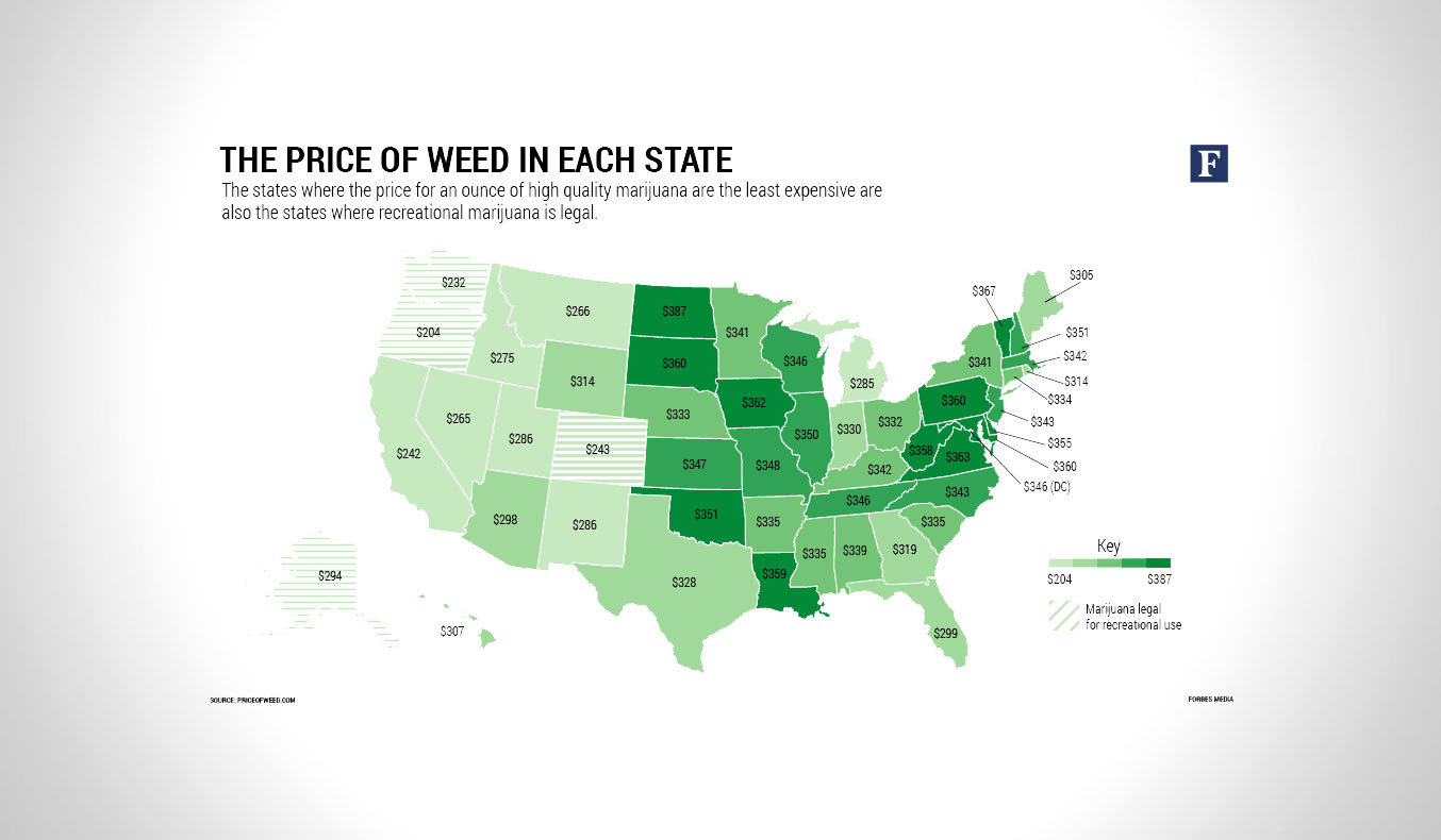 THIS MAP SHOWS HOW MUCH WEED COSTS IN EACH STATE
