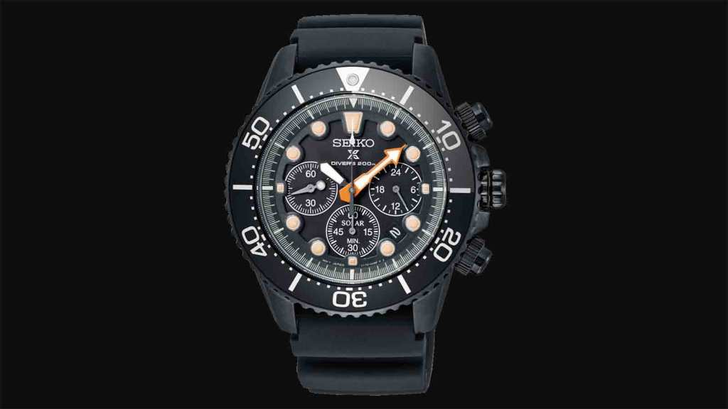 "Seiko Prospex ""Black Series"" Limited Edition Chronograph Solar Diver's Watch"