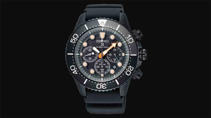 "Seiko Prospex ""Black Series"" Limited Edition Chronograph Solar Diver's Watch"