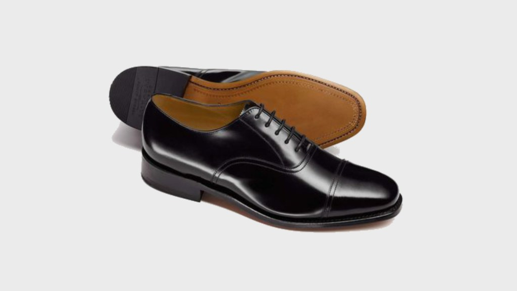 best mens dress shoes - Charles Tyrwhitt Black Goodyear Welted Oxford Leather Sole Shoe-1