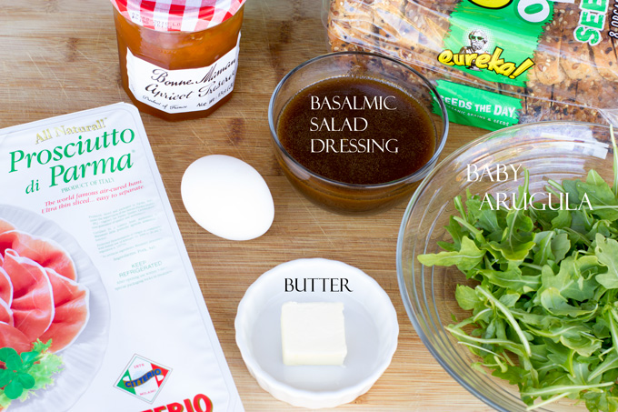Ingredients for apricot prosciutto toast