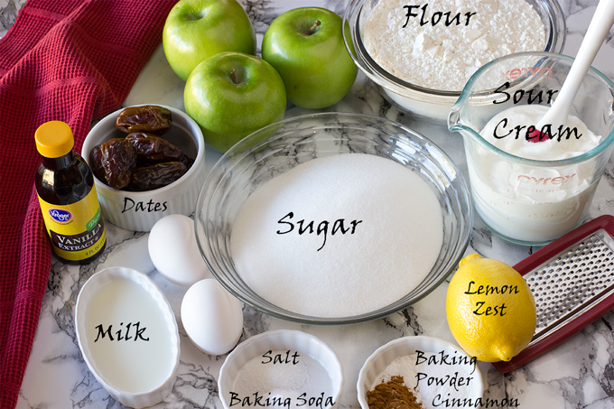 Ingredients for colonial apple cake