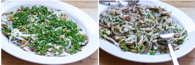 Pork tenderloin salad before and after dressing