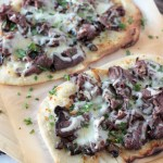 Flatbread Pizza with Beef, Mushroom, and Caramelized Onions