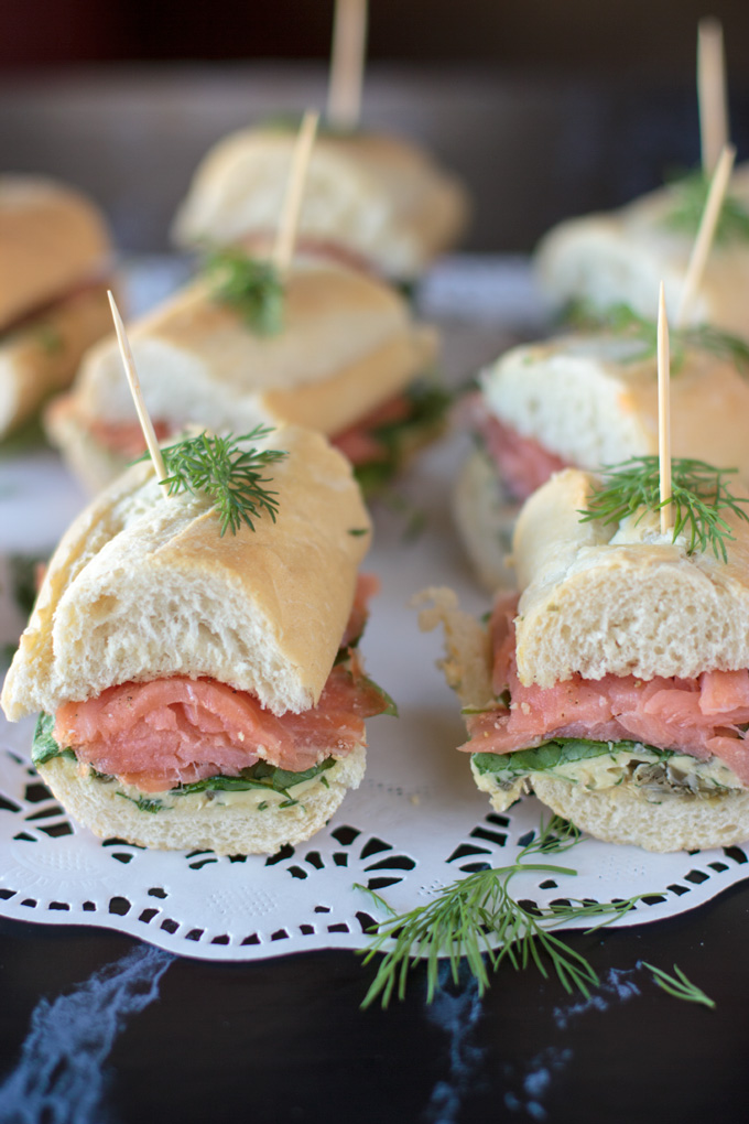 Smoked salmon baguette feature image on doily