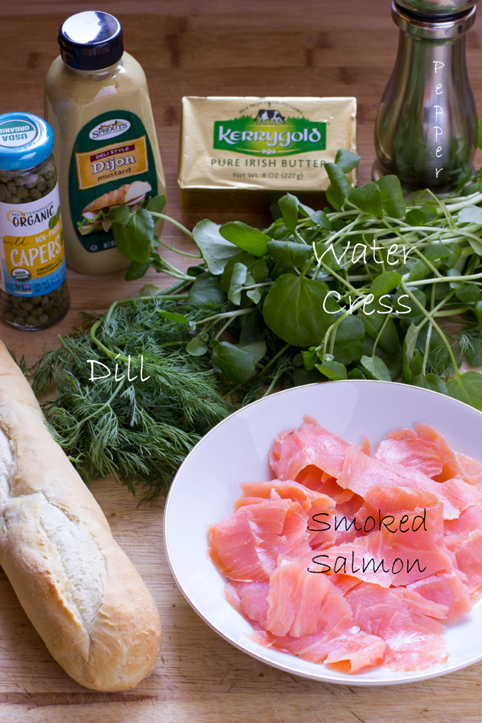 Ingredients for smoked salmon baguette