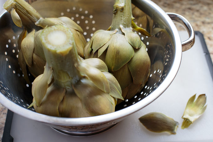 Cooked artichoke, strained