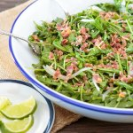 Wilted Arugula and Bacon Salad with Lime Dressing