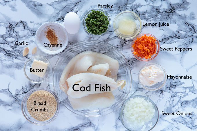 Ingredients for the fish cakes
