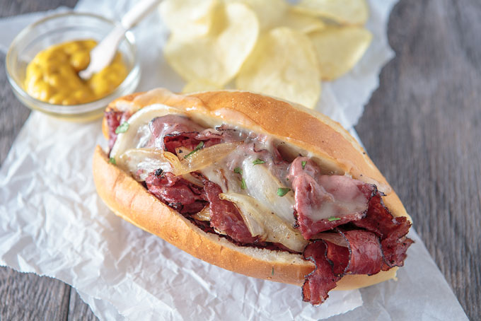 Grilled pastrami and provolone landscape