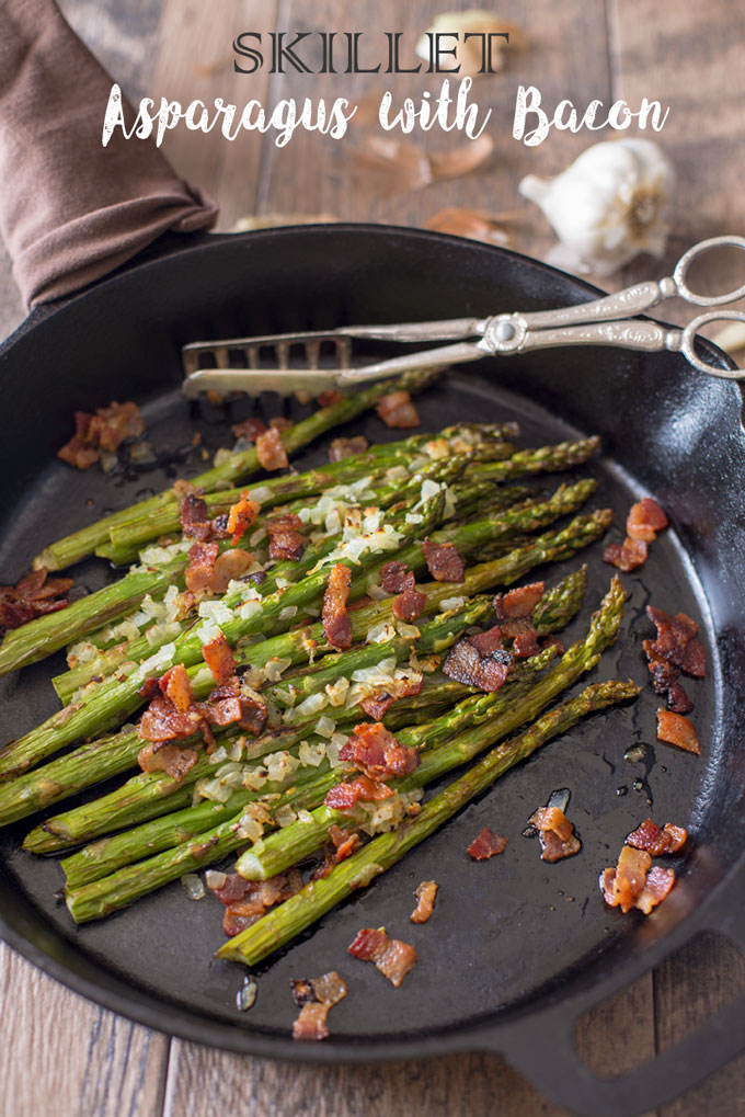 final image of skillet asparagus with bacon with text banner