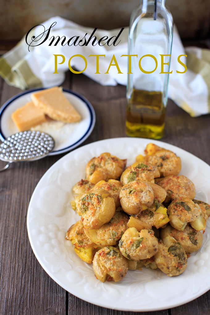 Smashed potatoes image with text banner