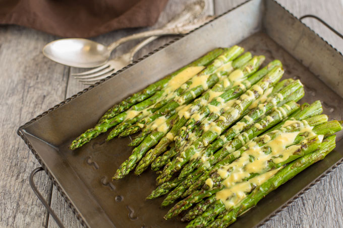 Asparagus with maple and mustard sauce, landscape orientation