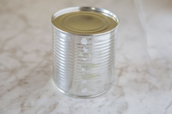 Condensed milk can for milk caramel spread, label removed
