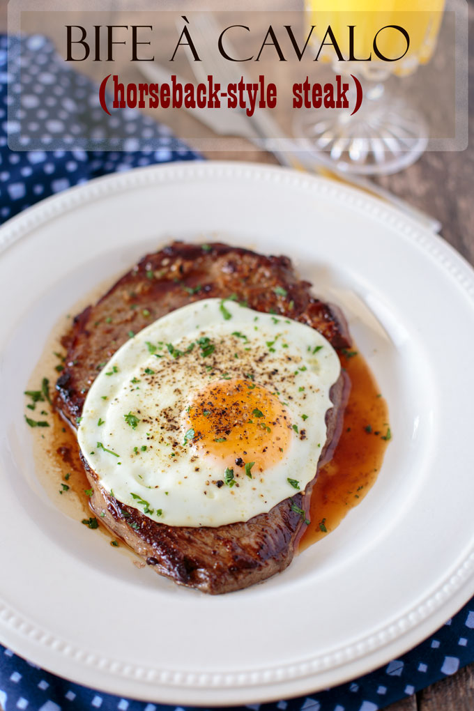 Steak and egg on a plate, parsley garnish, with text banner