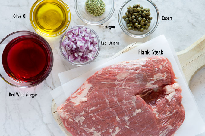 Ingredients for grilled flank steak with tarragon caper sauce