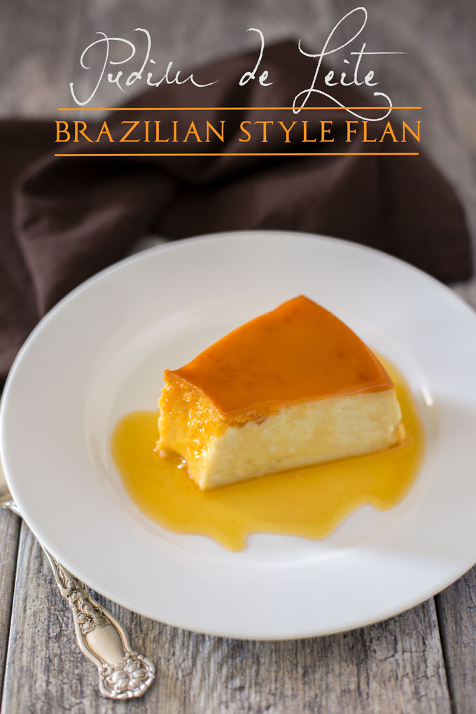 Wedge of flan on a plate covered in caramel sauce with text banner