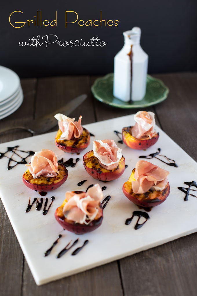 Grilled peaches with prosciutto on white marble with balsamic glaze with banner