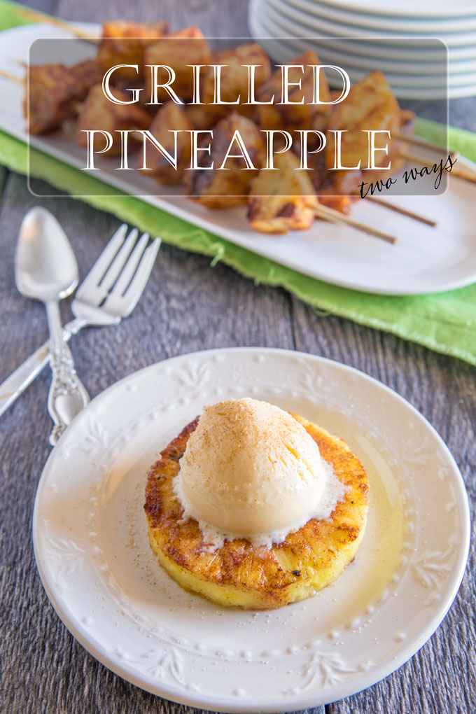 Grilled pineapple with ice cream scoop with text banner