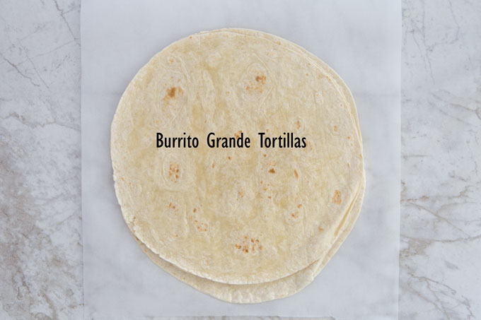 Burrito grande tortillas for making the turkey fajita wraps
