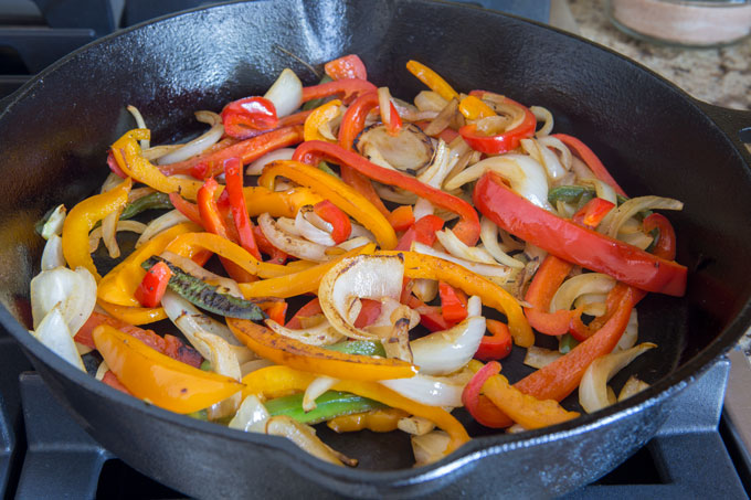 Grilled peppers and onions for the turkey fajita wraps