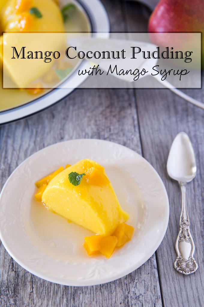 Mango coconut pudding with text banner