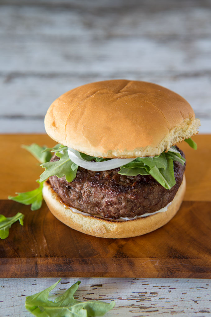 Brie and scallion stuffed burger