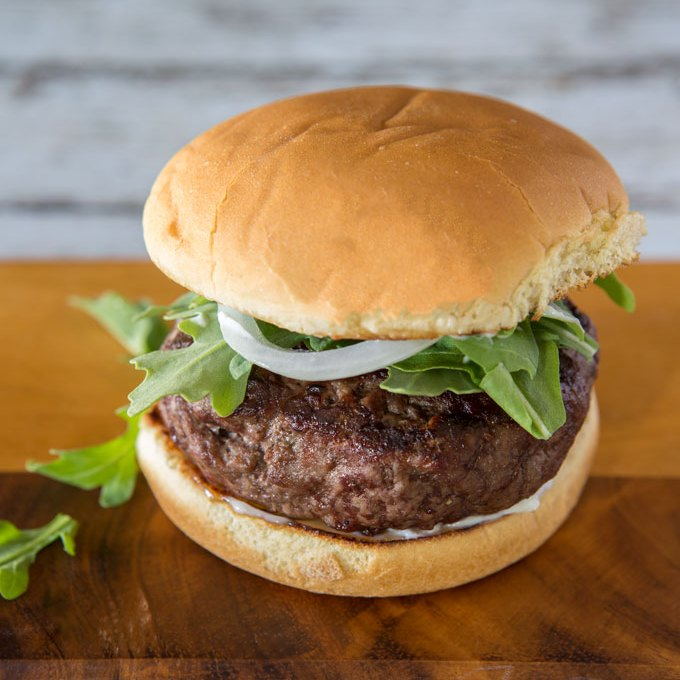 Brie and Scallion Stuffed Hamburger