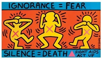 Ignorance = Fear/Silence = Death by Keith Haring, 1989