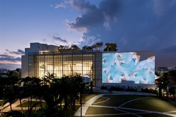 Chronograph, a site-specific software mural for the Frank Gehry-designed home of the New World Symphony in Miami.  Casey Reas and Tal Rosner