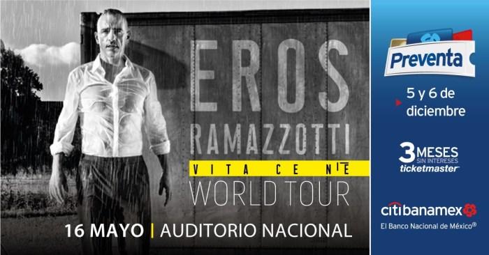 Eros Ramazzotti llega a México con tres fechas