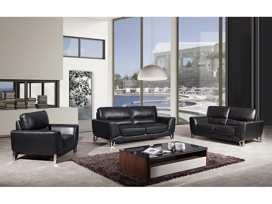 Modern 3Pcs Black Italian Leather Sofa Set Shop For