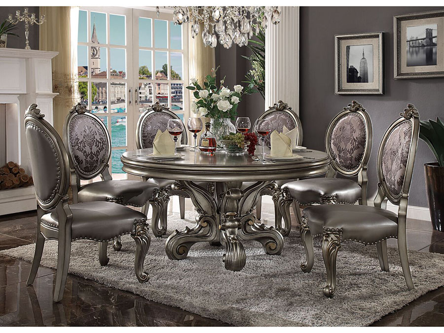 Versailles Antique Platinum Round Dining Set Shop For Affordable Home Furniture Decor