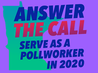 stylized map of Mn with text saying Answer The Call, Serve as a Pollworker in 2020