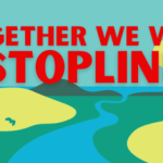image of river with words Together we will #Stop Line 3