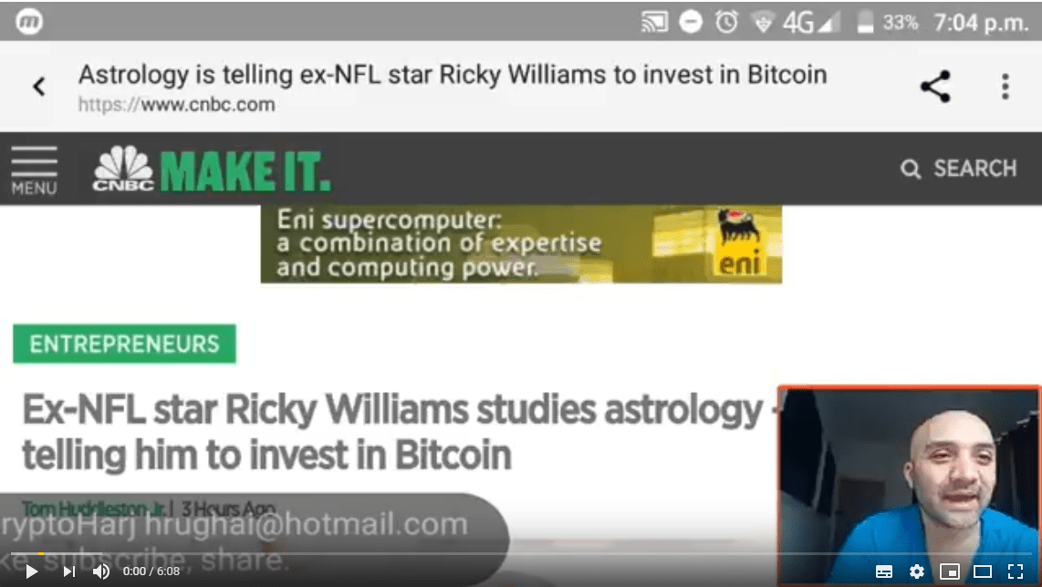 Crypto Harj Talks about Ex NFL Player Ricky Williams Buying astrology bitcoins on MUXE TV