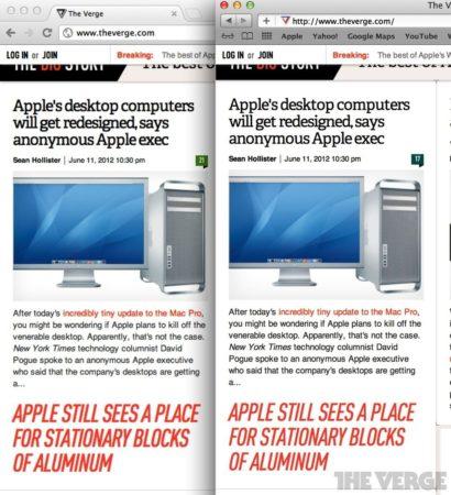 Screen Shot 2012 06 11 at 11.08 410x450 Chrome vs Safari en Retina Display: comienzan los problemas