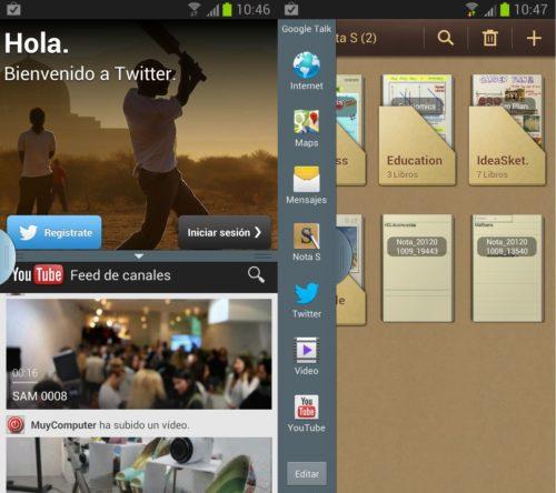 Note II Split 1 500x444 El Galaxy Note II recibe la actualización de pantalla dividida