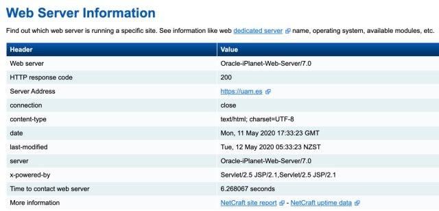 Ficha del servidor web de la Universidad Autónoma de Madrid