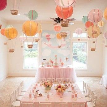 Manualidades para Baby Shower con globos aeroestáticos para niña