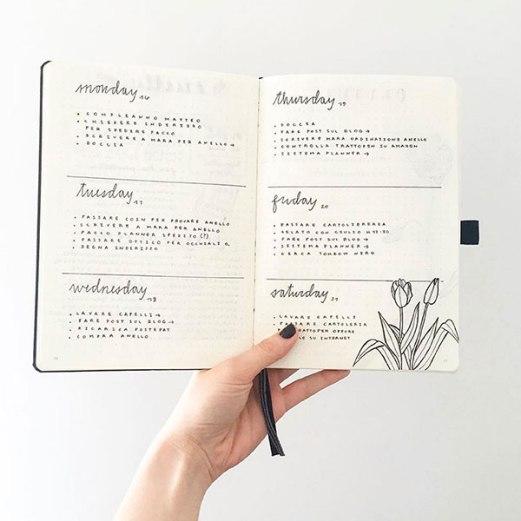 Cómo hacer el calendario semanal del bullet journal