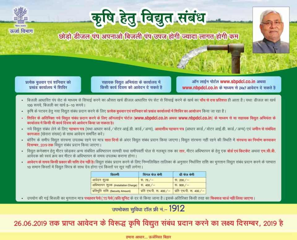 Apply for Agriculture Electricity Connection in Bihar