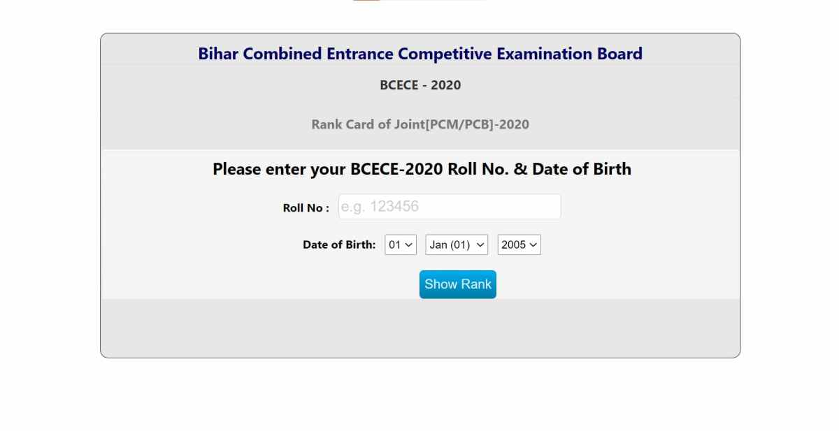 BCECEB Joint Competitive Examination 2020 Result