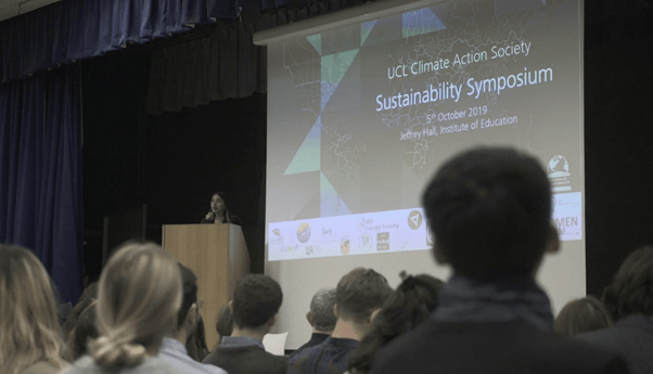 Aliza presenting at a symposium organized by UCL Climate Action Society