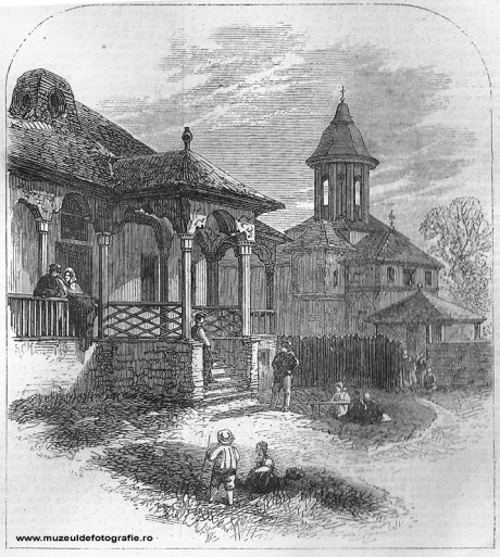 A house at Bucharest - gravura realizata de Dr. Mawer dupa o fotografie de Szathmari, publicata la 01 Aprilie 1865 in The Illustrated London News, pag. 300-301