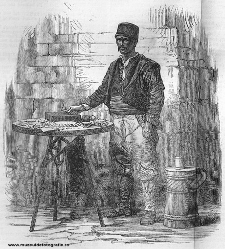 Iced Water and Sweetmeat Seller - gravura realizata de Dr. Mawer dupa o fotografie de Szathmari, publicata la 01 Aprilie 1865 in The Illustrated London News, pag. 300-301