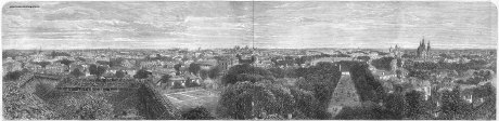 The City of Bucharest - gravura realizata de Dr. Mawer dupa o fotografie de Szathmari, publicata la 01 Aprilie 1865 in The Illustrated London News, pag. 300-301