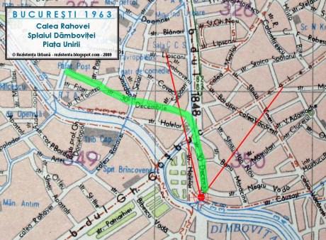 Strada 30 Decembrie (str. Carol in perioada interbelica), punctul de statie si unghiul camerei pe o harta din 1963. Harta prin amabilitatea rezistenta.net.