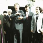 """Billy Graham on a ""crusade"" in Romania."""